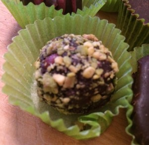 orange cranberry pistachio truffle