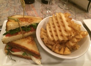 Caprese Grilled Cheese with Arugula and Waffle Fries